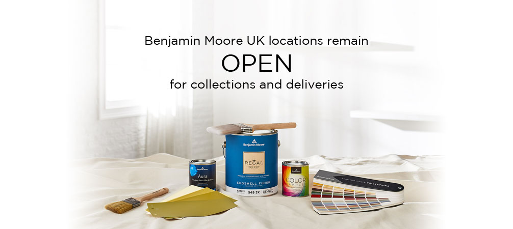 Benjamin Moore UK locations to remain OPEN for collections and deliveries only.